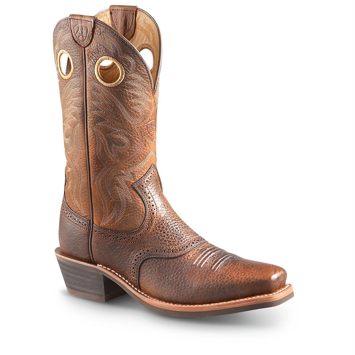 ariat cowboy boots ariat menu0027s roughstock cowboy boots, brown oiled rowdy ... rtxklqw
