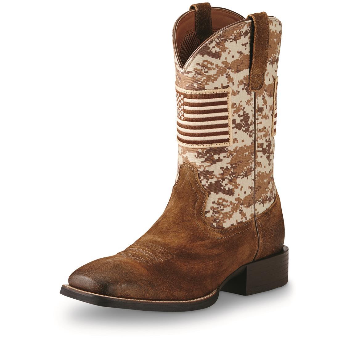 ariat cowboy boots ariat menu0027s sport patriot cowboy boots, mocha suede / sand camo piqwhlt
