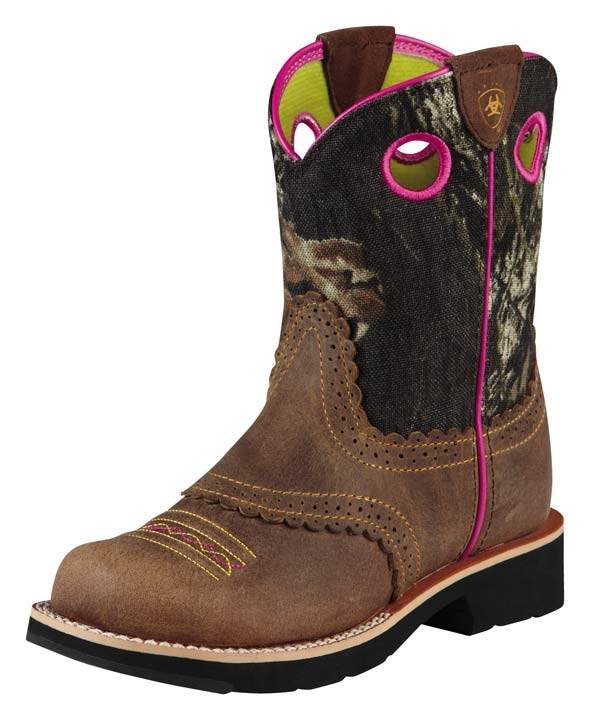 ariat girlu0027s fatbaby cowgirl boots - brown/mossy oak camo (closeout) odcdtua