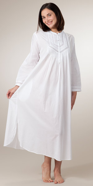 as seen in glamour long sleeve white cotton nightgown by la cera eosxpml
