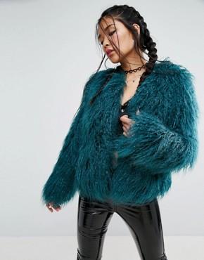 asos mongolian faux fur jacket qxtogcb