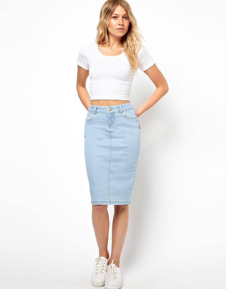 asos ultra denim pencil skirt in vintage wash fvzzdnj