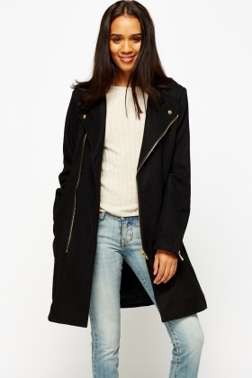 asymmetric zip front long black coat xymwdpt