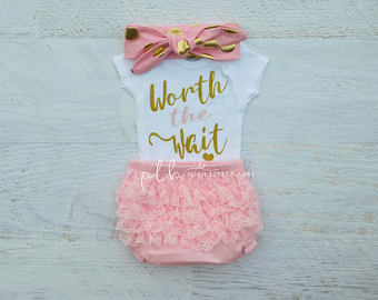 baby girl outfits baby girl clothes/ worth the wait/ baby bodysuit/ coming home outfit/ baby yqpxhfx