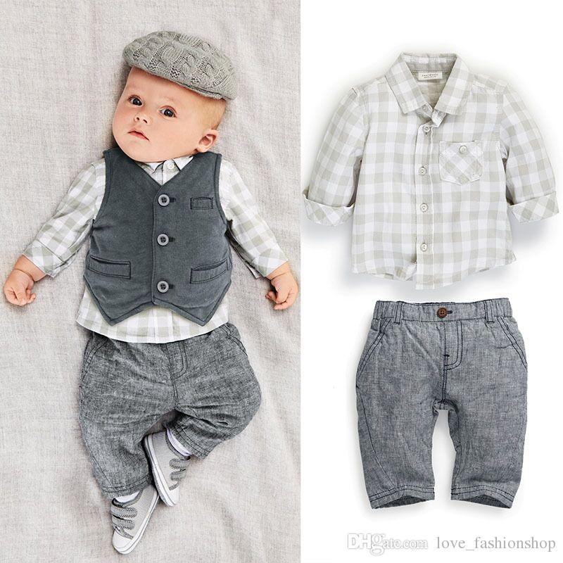 baby suits 2017 baby boys suits european style fashion shirt+vest +pants plaid suits  children ldxwzwv