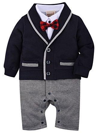 baby suits zoerea baby boys romper suits bow tie baptism wedding tuxedo jumpsuit  cotton, iufacjm
