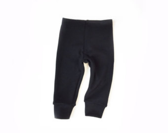 baby wool leggings (black wool ponte, heavweight) - 6m frdjdqf