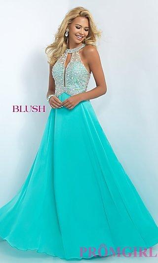 ball dress beaded illusion full length prom dress - promgirl vxrkwux