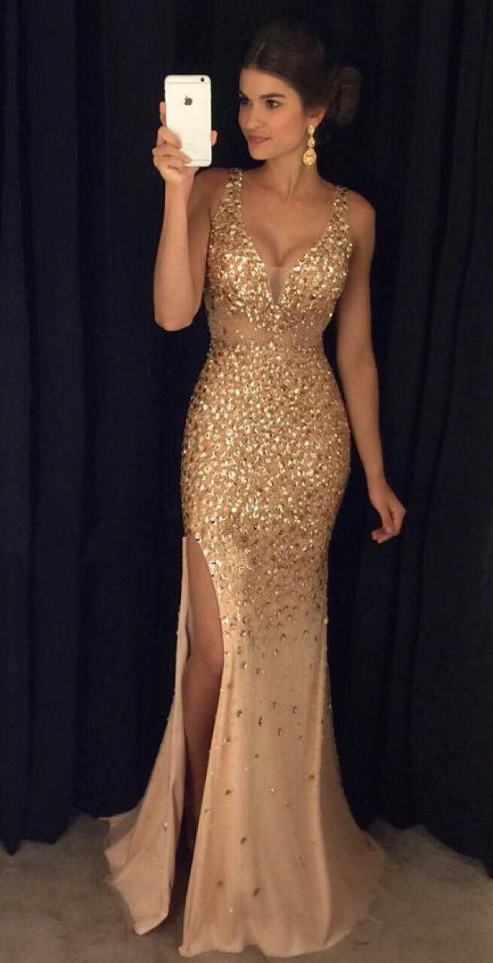 ball dress gold crystals mermaid prom dresses,deep v neck slit prom dresses,off the  shoulder qeicljs