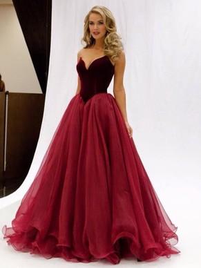 ball dress princess v-neck organza floor-length ruffles burgundy modern ball dresses  #pls020102419 xcrgqjc