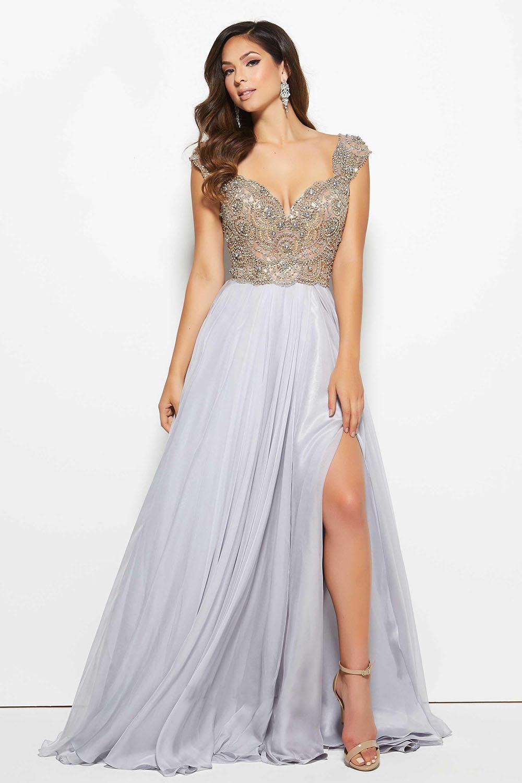 ball dress ... slit grey chiffon a line beaded v neck prom cap sleeve ball ramdrpc