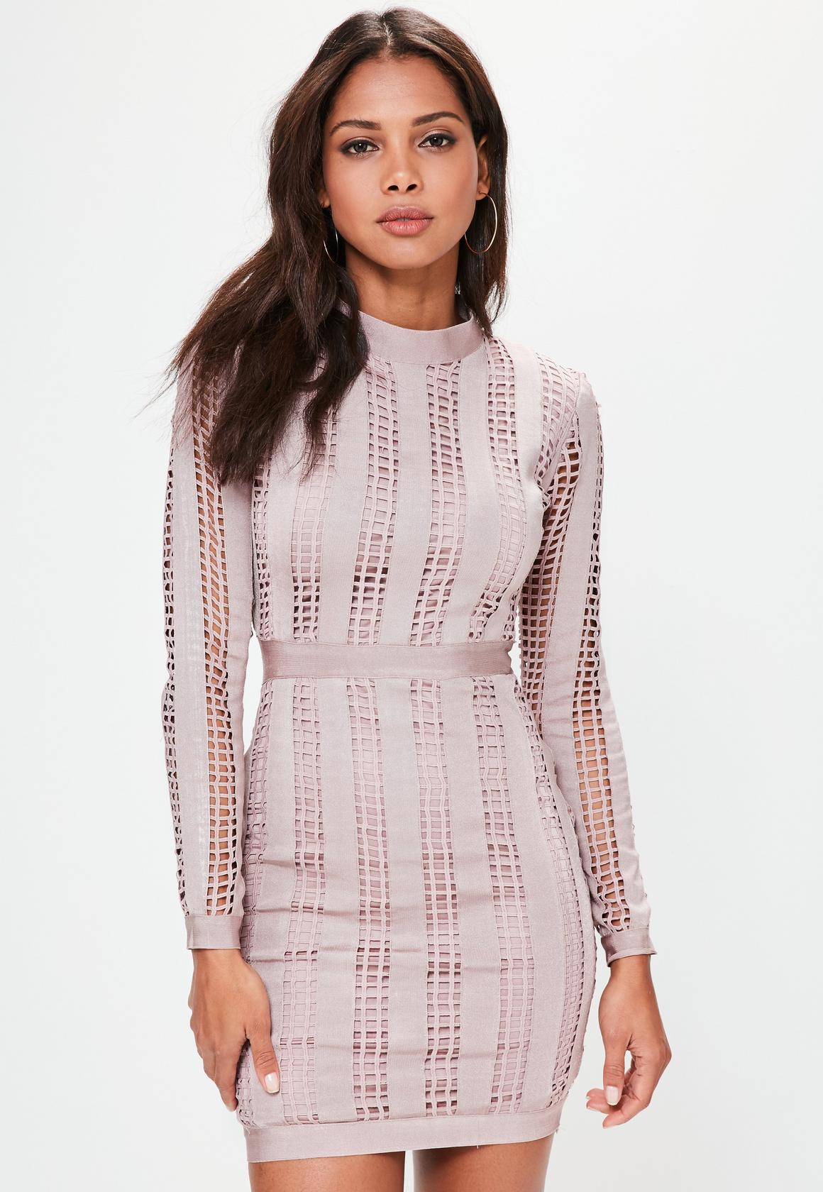 bandage dresses pink high neck long sleeve bandage dress kuxxyei
