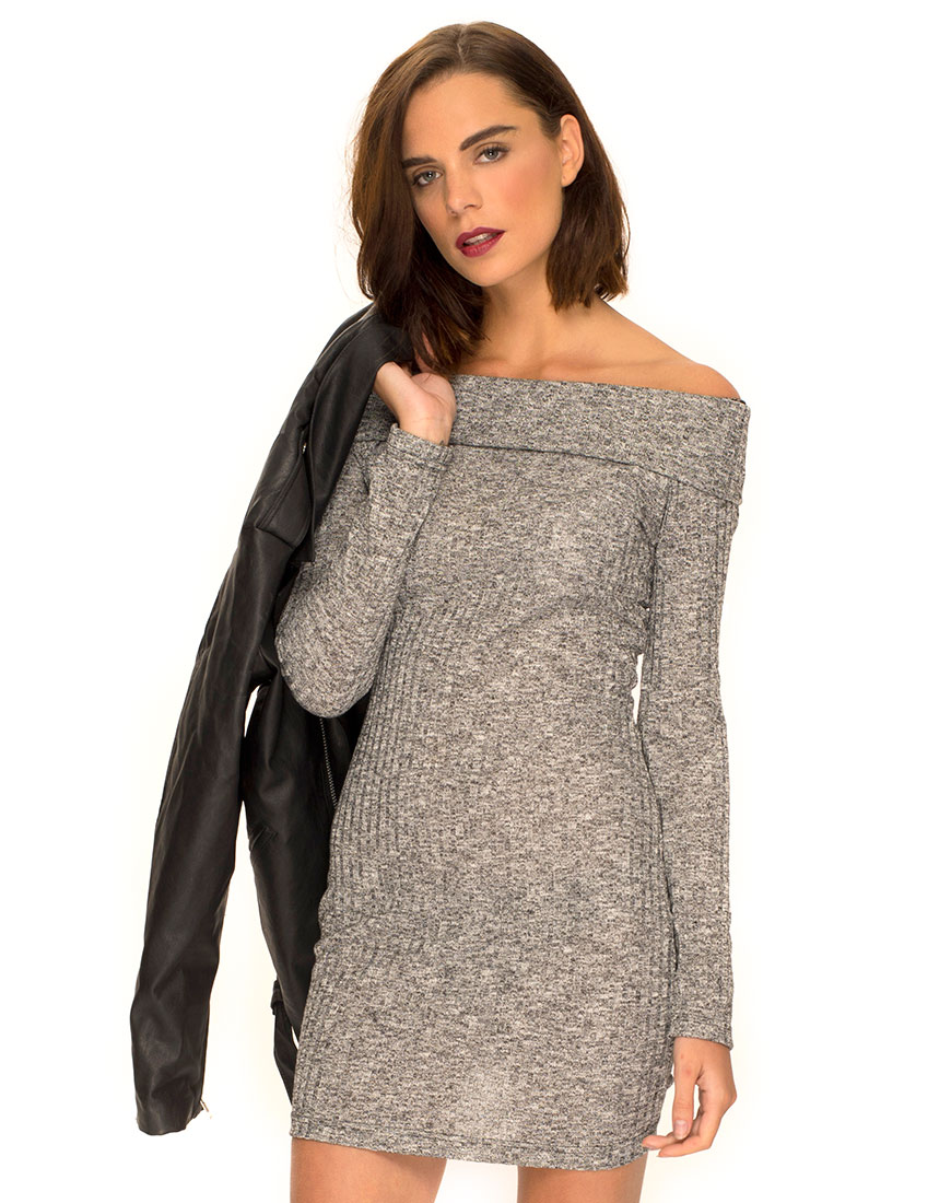 behati off the shoulder jumper in knit rib grey by motel ... ihkqbvu