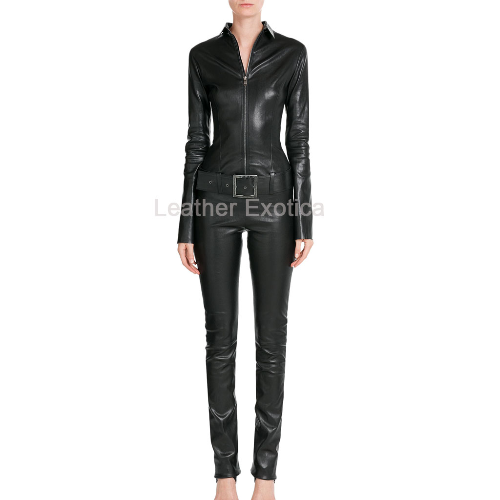 belted waist women designer leather jumpsuit sykaouj