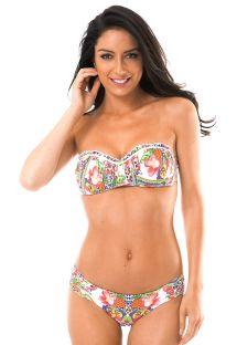 bikini bandeau padded bandeau top bikini in a tropical print - guarana girls csubcaa