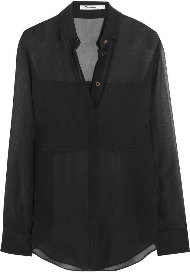black chiffon blouse ... alexander wang t by silk chiffon shirt ... vzdaaji