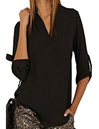 black chiffon blouse arrowhunt womens casual solid v-neck cuffed sleeve chiffon blouse swjdhoo