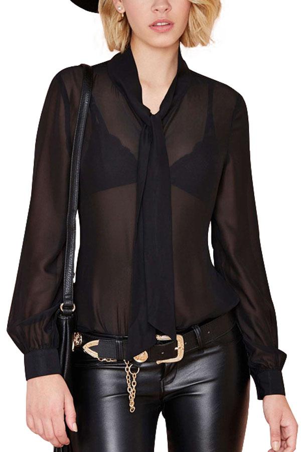 black chiffon blouse black chiffon tie decor long sleeve blouse @ womens shirts u0026 blouses,women dgkouce