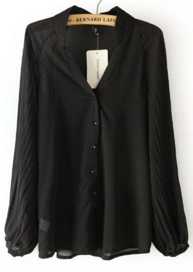 black chiffon blouse black v neck long sleeve pleated chiffon blouse fjqdehh