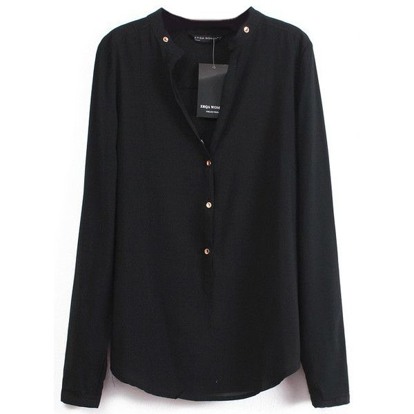 black chiffon blouse shein(sheinside) black v neck long sleeve buttons blouse (20 cad) ❤ tqyjfds
