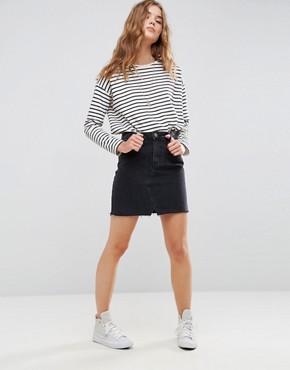 black denim skirt asos denim pelmet skirt in washed black hwueqrv