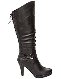 black knee high boots top moda page-65 womenu0027s knee high round toe lace-up slouched high heel doitfec