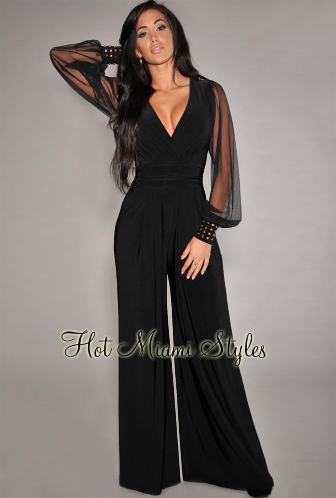 black long sleeve jumpsuit black embellished cuffs long mesh sleeves jumpsuit xmkouhp