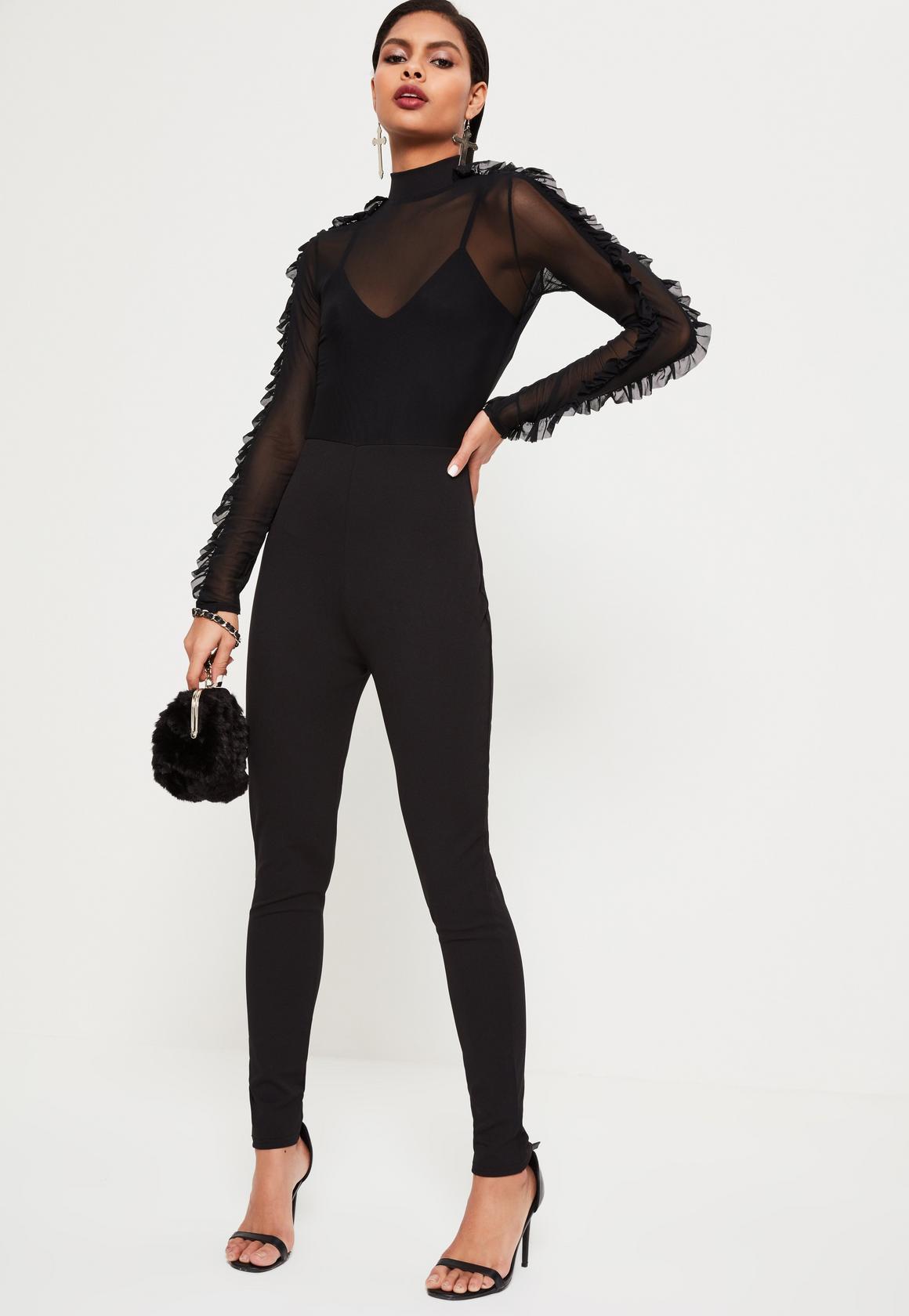 black long sleeve jumpsuit black mesh top frill sleeve jumpsuit black mesh top frill sleeve jumpsuit qvovpqr