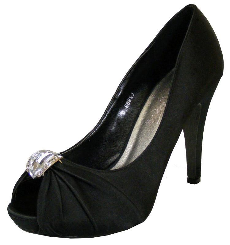 black peep toe heels new womens black satin diamante bridesmaids shoes peep toe heels size 4 5 taamopj