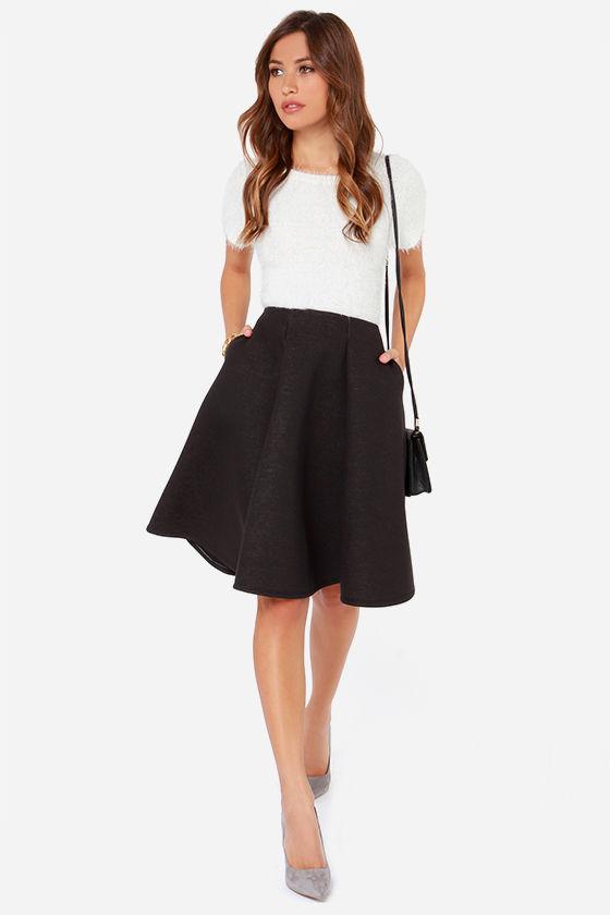 black skirt - flared skirt - midi skirt - $45.00 npzlurt