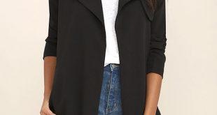 black trench coat stylish black coat - trench coat - open front coat - $86.00 gbjqicl