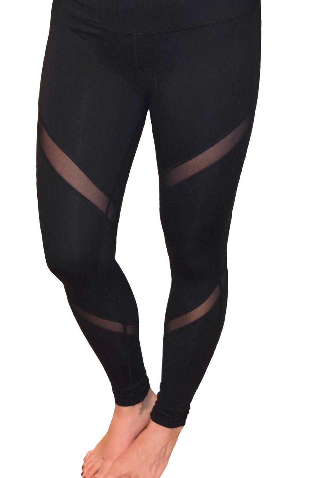 black yoga pants ... black mesh insert cutout yoga pants workout leggings ... tltqohz