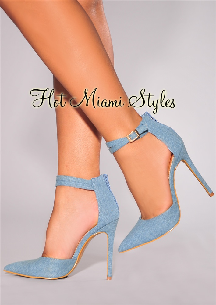 blue denim strappy ankle strap high heel sandals qlkmeur