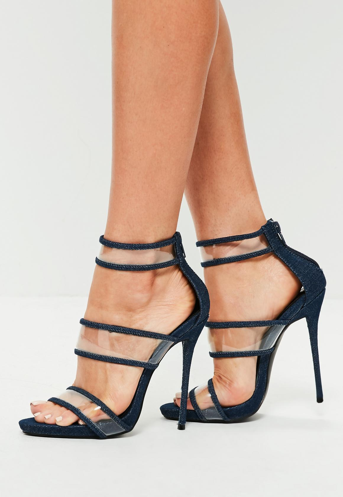 blue denim strappy clear high heel sandals asoqsdn