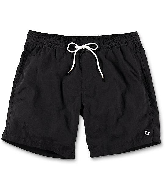 board shorts for men empyre floater black nylon elastic waist board shorts uakykaw