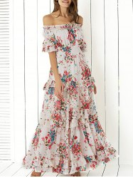 bohemian dresses boho off shoulder floral long flounce dress for wedding fpzclat