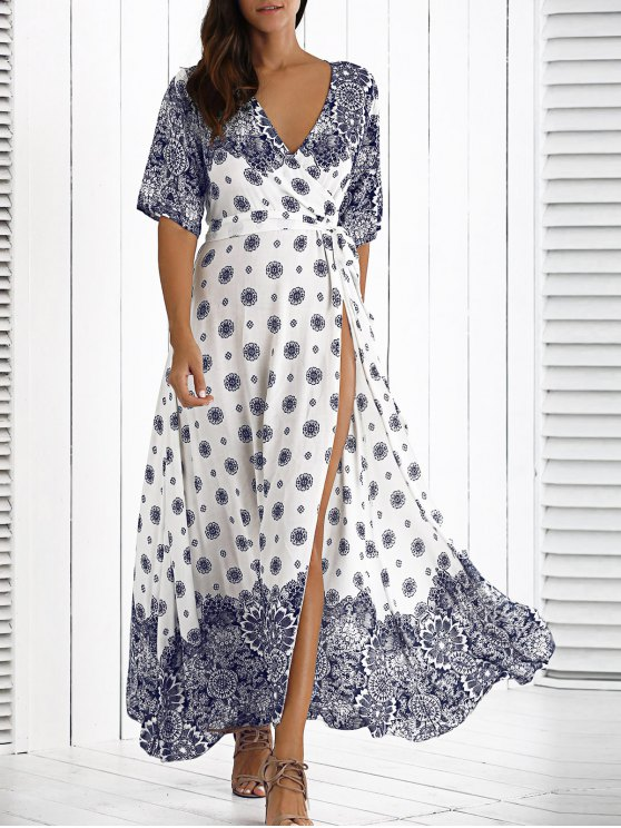 bohemian dresses maxi crossover dress with belt - white vcxyyhd