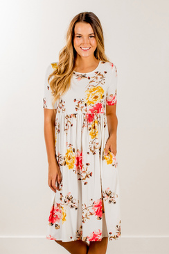 boutique dresses autumn rose fit + flare dress | ivory fall-floral-babydoll-fit- lirpjqk