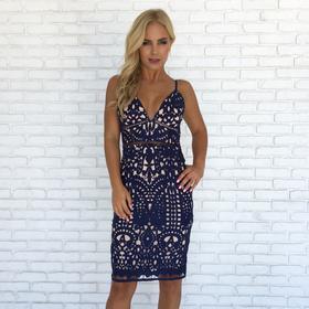boutique dresses debut crochet midi dress in navy blue ... knqrgks