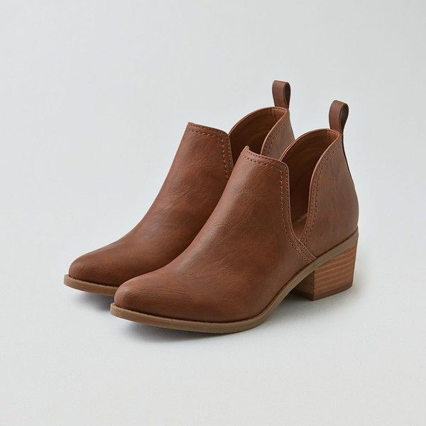 brown ankle boots ae cutout ankle bootie (2.860 rub) ❤ liked on polyvore featuring shoes, hbpawuo