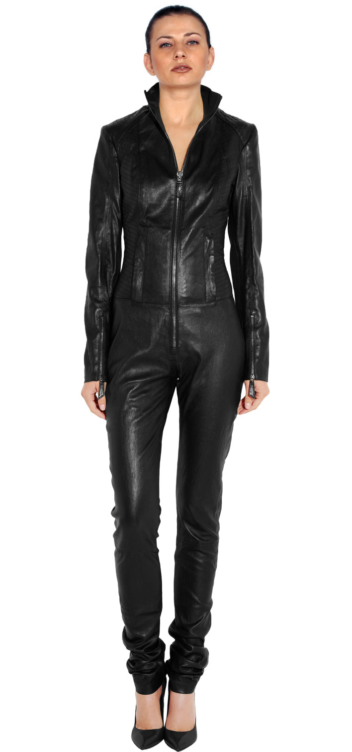 business pattern full hand lambskin leather jumpsuit jrshzuo