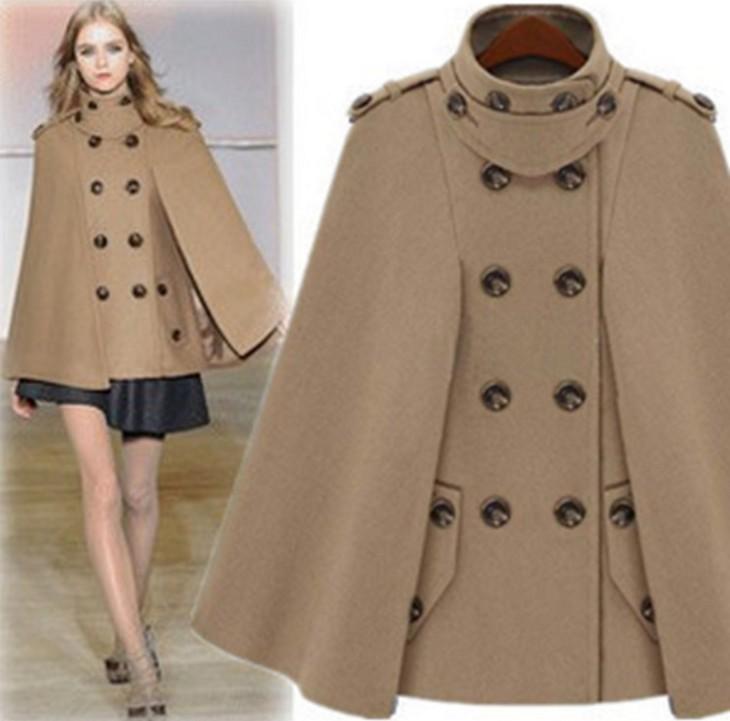 cape jacket 2017 fashion women wool coat stand collar autumn winter jacket plus size oicrsvr