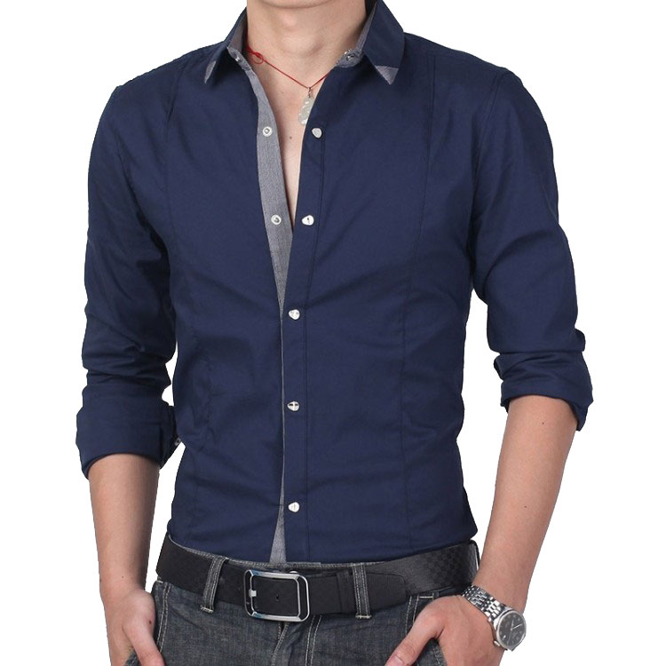 casual shirts for men big size new style mens leisure cotton slim long-sleeved shirt menu0027s casual zsevfuh