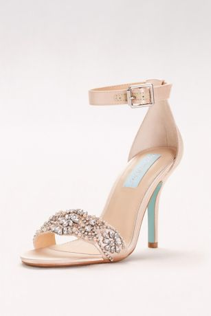 champagne heels embellished high heel sandals with ankle strap | davidu0027s bridal oxhzqiy