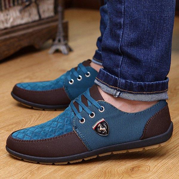checked color block casual shoes - blue 43 xlnqjpn