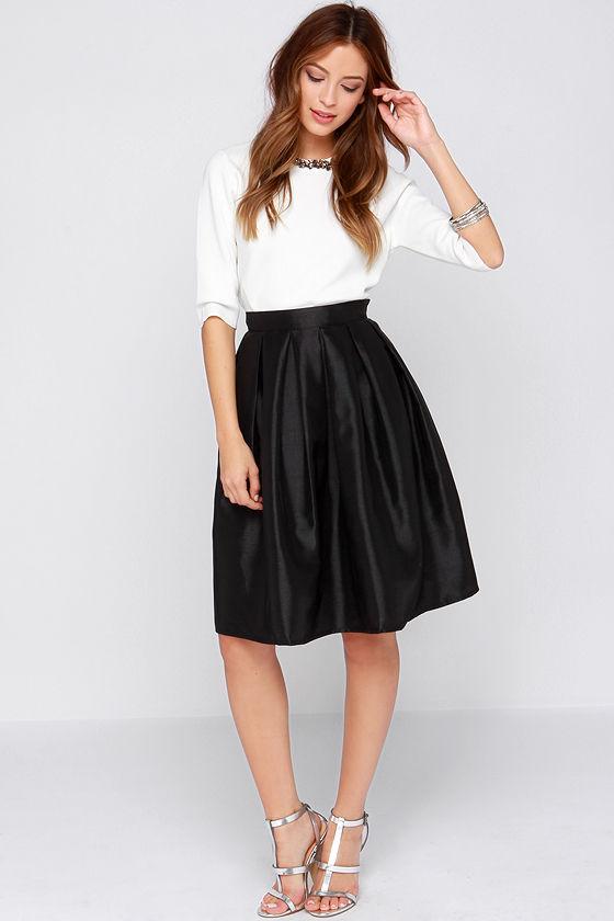 chic black skirt - midi skirt - skater skirt - pleated skirt - nssnbxa