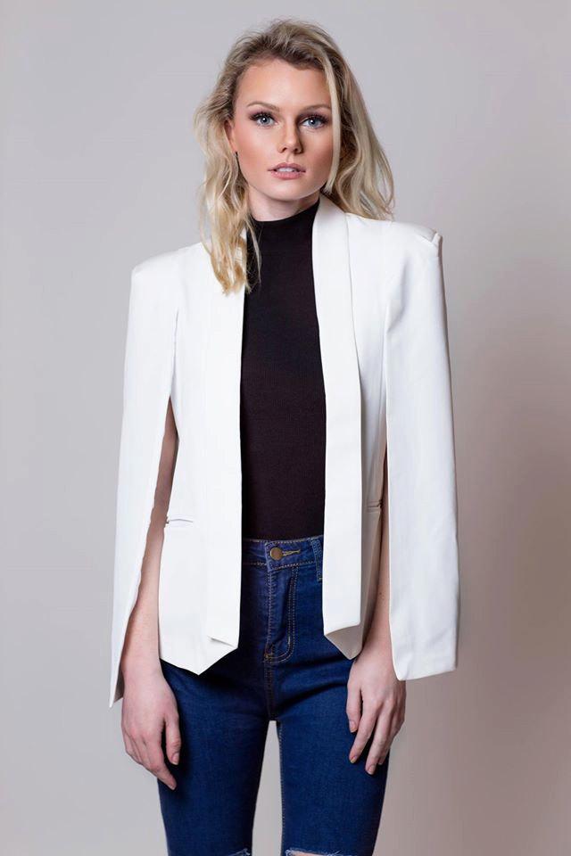 chic cape jacket, cape blazer, white cape jacket, cape coat, office lady kpyxnte