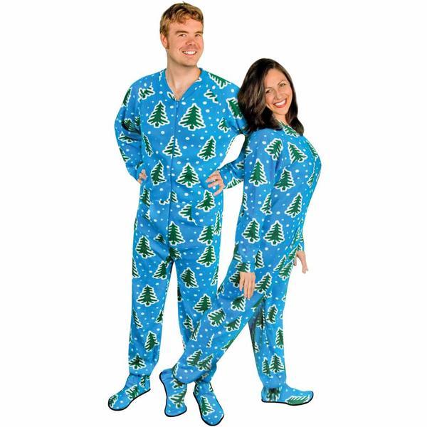 christmas trees and snow adult footed pajamas with drop seat - pajama city riqjxiu