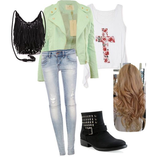 clothes for teenage girls cute teen fashion girl clothes outfit leather jacket denim jeans biker  boots hqqhbfu