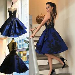 cocktail dresses evening wear 2016 royal blue cocktail dresses short sheer jewel neckline appliqued  beaded formal vugkwme